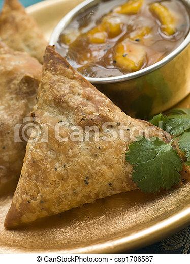 Vegetable Samosa with Mango Chutney - csp1706587