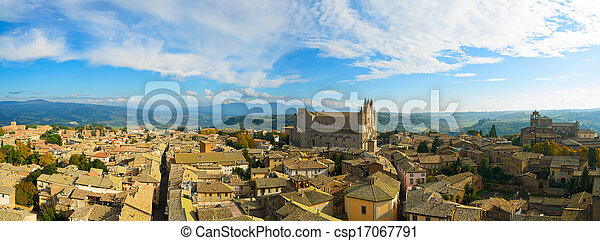 Orvieto medieval town and Duomo cathedral church aerial view. Italy - csp17067791