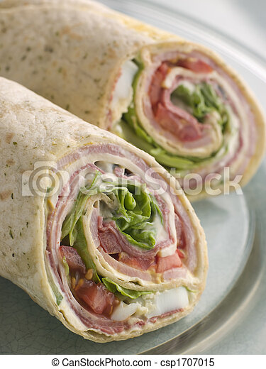 Deli Tortilla Wrap Cut in Half - csp1707015