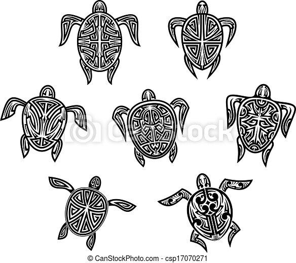 Illustrations Vectorisées de tatouages, tribal, tortues ...