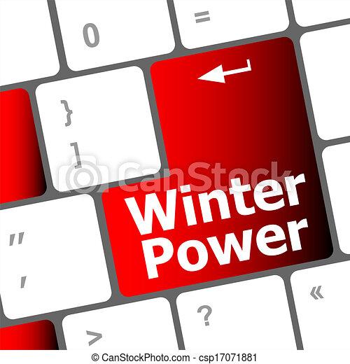 Stock Illustration - winter power on computer keyboard key button ...