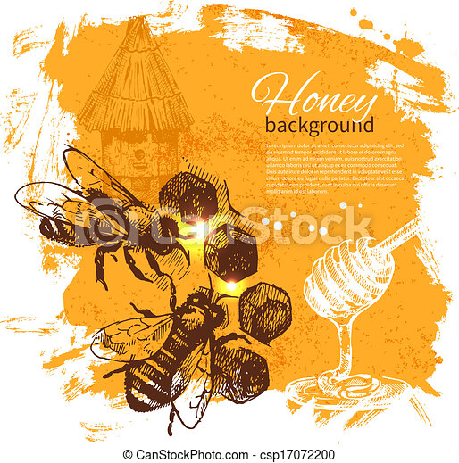 Honey background with hand drawn sketch illustration - csp17072200