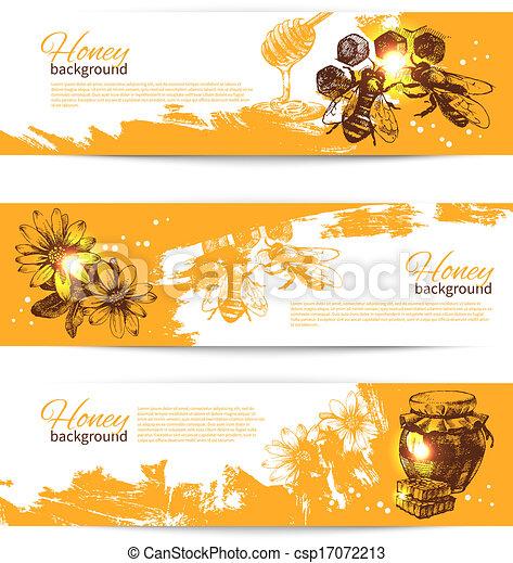 Bosquejo, Conjunto, mano, miel, ilustraciones, dibujado, banderas - csp17072213