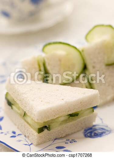 Cucumber Sandwich on White Bread with Afternoon tea - csp1707268