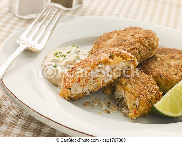 Maryland Crab Cakes with Curry Mayonnaise - csp1707303
