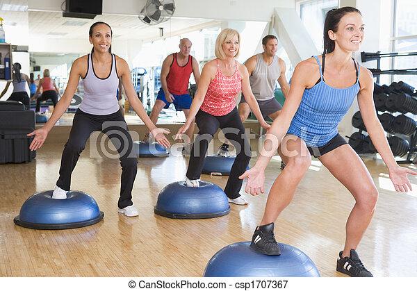 tagande, instruktör, gymnastiksal, klassificera, Övning - csp1707367