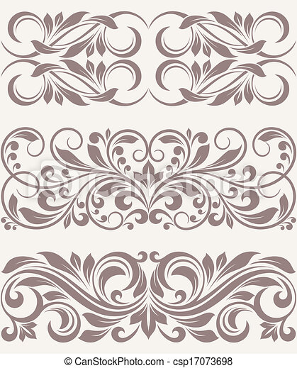 Vector - set vintage ornate border frame filigree - stock illustration ...