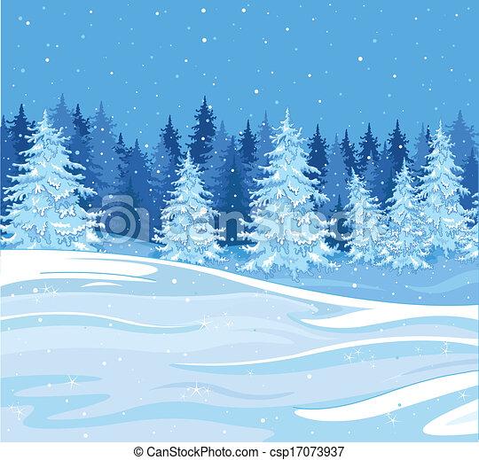 Vecteurs de hiver paysage chute neige sur a sapin arbre for t csp17073937 recherchez - Paysage enneige dessin ...