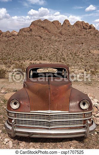 Old Rusted Out Car in the Desert - csp1707525