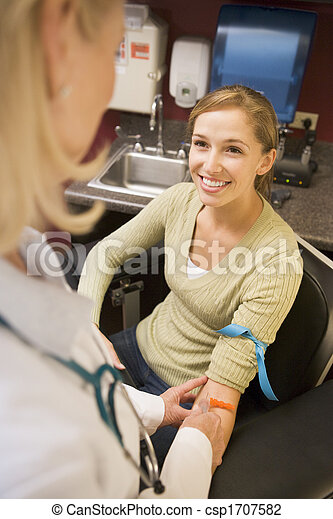 Young Woman Having Blood Test Done - csp1707582