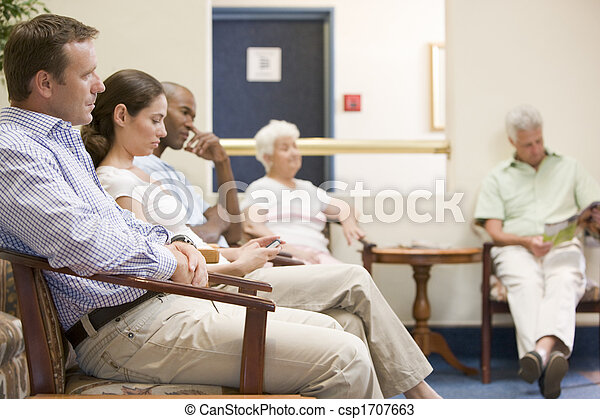 Five people waiting in waiting room - csp1707663
