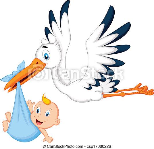 Cartoon stork carrying baby - csp17080226