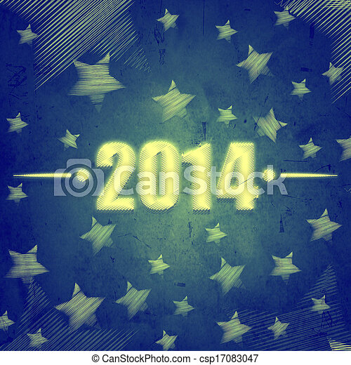 new year 2014 over blue retro background with stars - csp17083047