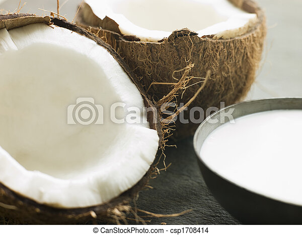 Dish of Coconut Milk with a Split Fresh Coconut - csp1708414