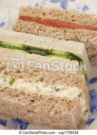 Afternoon Tea Finger Sandwiches- Egg and Cress Smoked Salmon and Cucumber - csp1708439