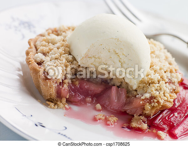 Rhubarb Crumble Tart with Vanilla Ice Cream - csp1708625