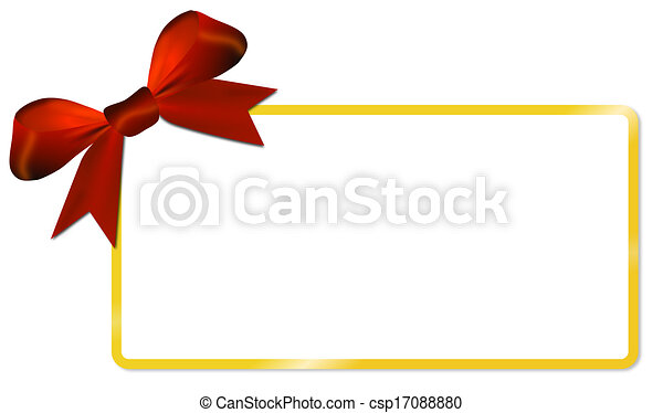 Christmas card with golden frame red bow - csp17088880