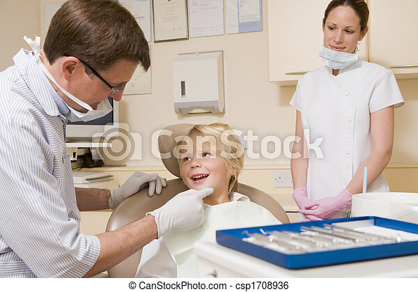 Dentist and assistant in exam room with young boy in chair - csp1708936
