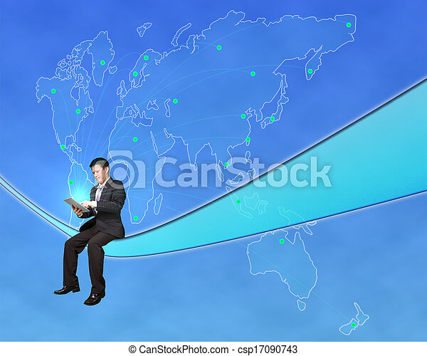 Businessman sitting and touch tablet with worldwide map background in blue sky
