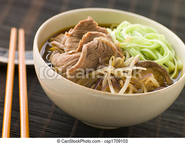 Hot and Sour Beef Broth With Spinach Ramen Noodles - csp1709103