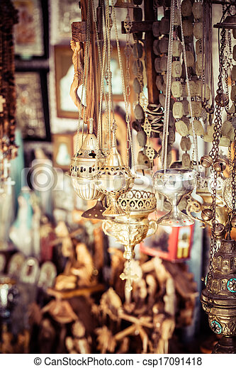 Shop with religion souvenir at the old city of Jerusalem - csp17091418