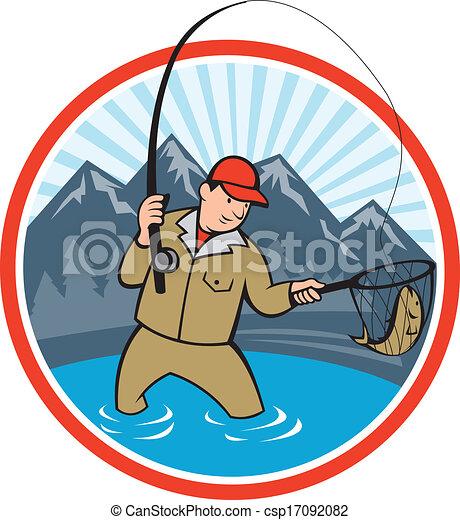 Vecteur de mouche fish attraper p cheur dessin anim - Dessin truite ...