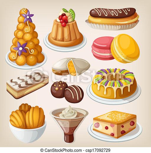 Clip art de traditionnel desserts ensemble francais - Dessert dessin ...