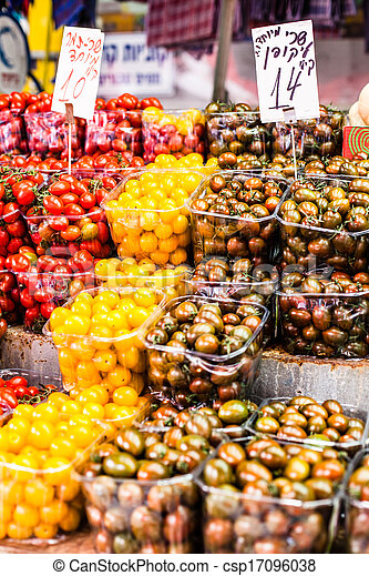 Fruits and vegetables at a farmers market  - csp17096038