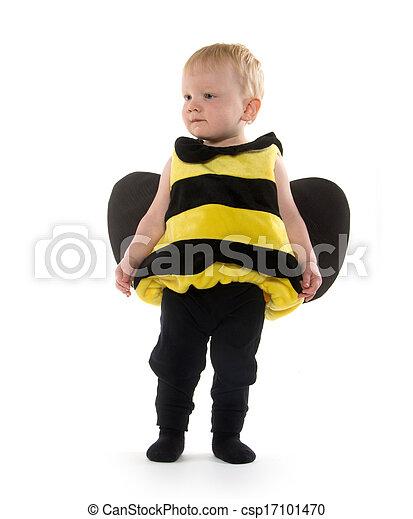 bebé, niño, abejorro, disfraz - csp17101470