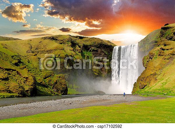 Iceland, waterfall - Skogafoss - csp17102592