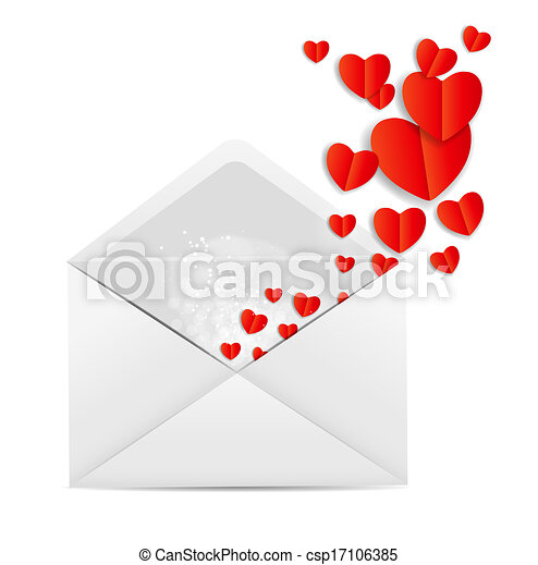 Valentine`s Day Card with Envelope and Heart Vector Illustration - csp17106385