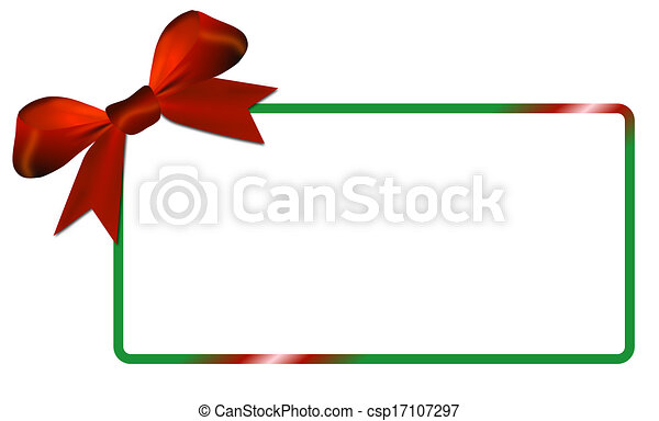 Christmas card with green frame red bow - csp17107297