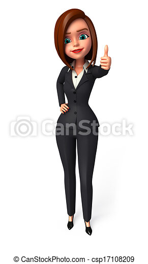 Business woman with best luck sign - csp17108209