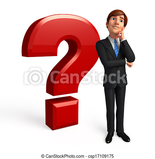 Business man with question mark - csp17109175