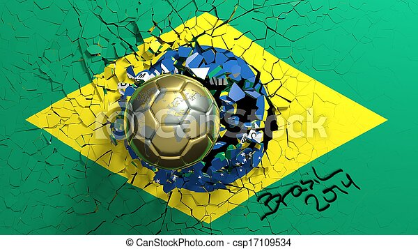Gold soccer ball breaking though wall with Brazilian flag - csp17109534
