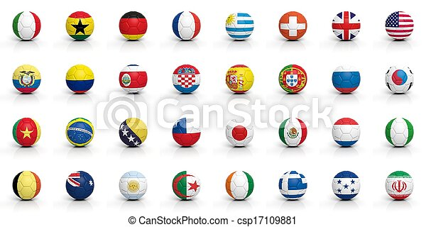 Soccer balls with various flags isolated on white - csp17109881