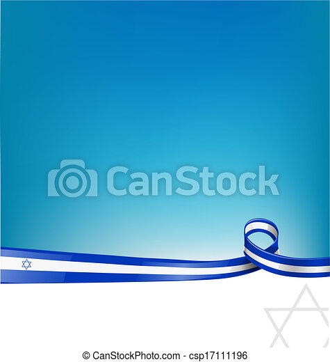 israel ribbon flag background - csp17111196
