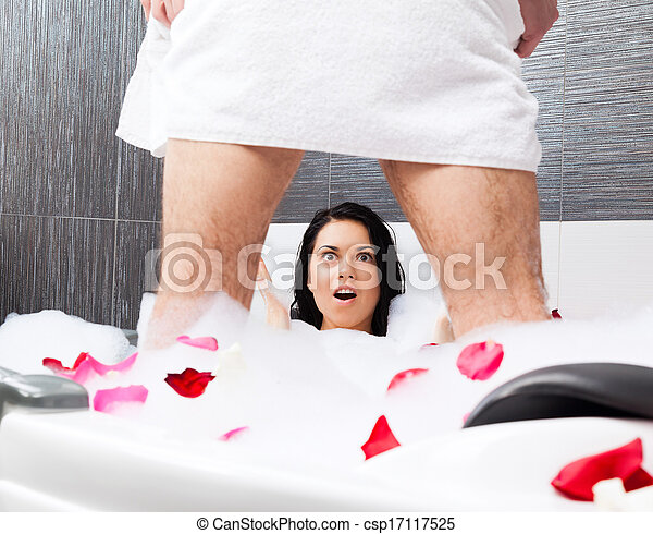 Stock Photo of couple in bathroom - young couple in ...