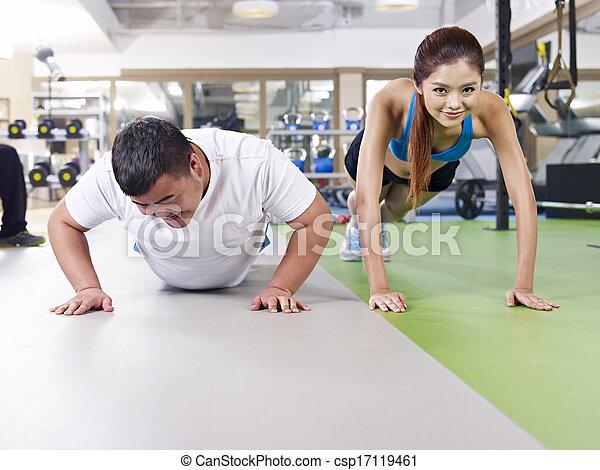 overweight man exercising - csp17119461