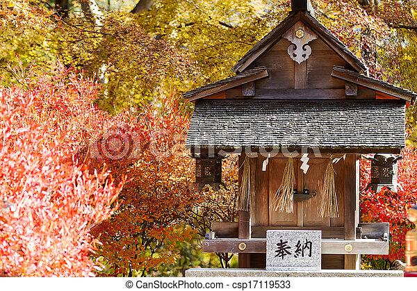 Autumn Japanese garden with maple - csp17119533