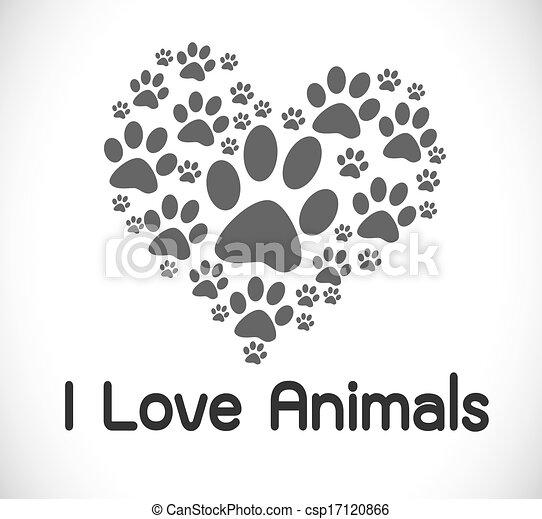 Clip Art Vector of i love animals csp17120866 - Search ...