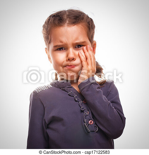 little girl child have toothache, toothache emotions large inflated cheek emotion background