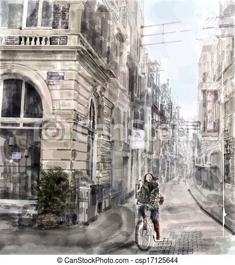 Illustration of city street.  Girl  riding on the bicycle. Watercolor style. - csp17125644