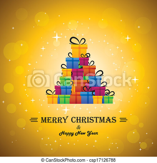 christmas festive celebrations with gift boxes as xmas tree - vector. The concept graphic can represent festivals like x-mas, new year, birthday & wedding events other personal events - csp17126788