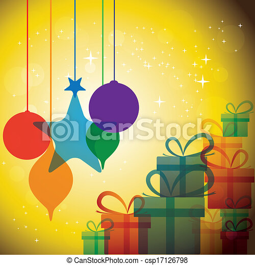 christmas festive celebrations with gift boxes & baubles - vector. The concept graphic can represent festivals like x-mas or xmas, new year, birthday & wedding events, etc - csp17126798