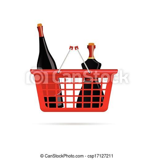 clip art vecteur de panier bouteille vin couleur vecteur illustration csp17127211. Black Bedroom Furniture Sets. Home Design Ideas