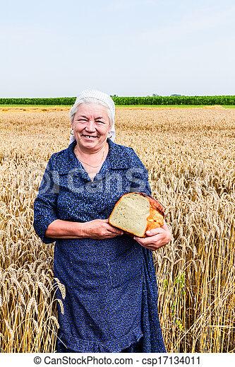 Grandma with bread
