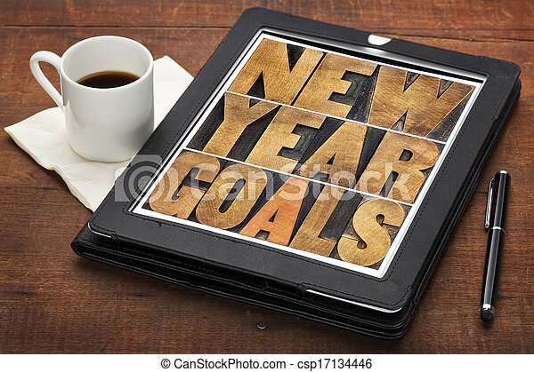 New Year goals on digital tablet - csp17134446
