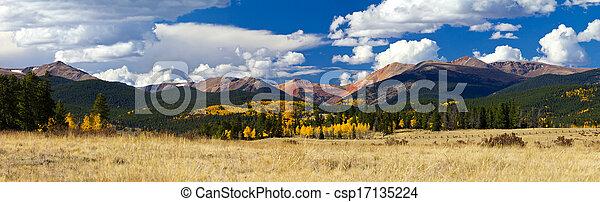 Colorado Rocky Mountain Fall Panoramic Landscape - csp17135224
