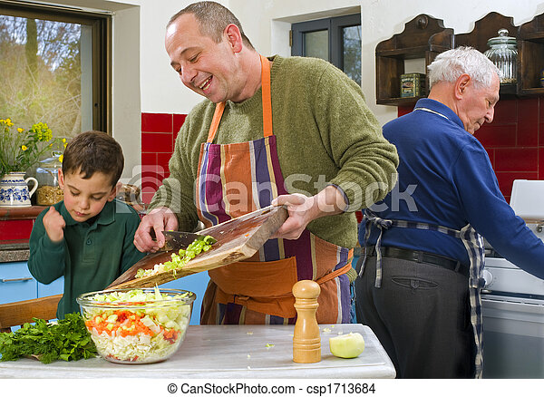 father child and grandfather cooking - csp1713684